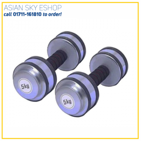 Rubber Dumbbell Set - 10kg - Silver Made of solid cast iron 10 kg Weight