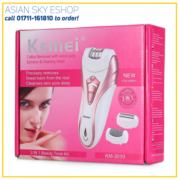 Kemei KM - 3010 3 In 1 Rechargeable Electric Epilator Hair Removal Shaver Callus Remover Multifunction Cordless Epilator