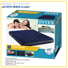 Intex Fiber Tech Dura Beam Product Size : King Inflatable Size : 183 x 203 x 25 cm Product Color : Blue